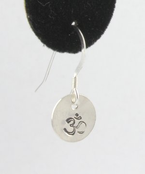 Om Ohm Earrings Sterling Silver Dangle Circle Hand Stamped