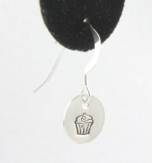 Cupcake Earrings Sterling Silver Dangle Circle Hand Stamped