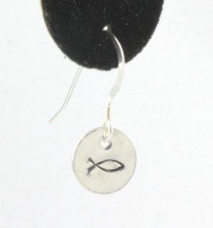 Christian Fish Earrings Sterling Silver Dangle Circle Hand Stamped