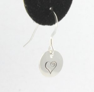 Swirl Heart Earrings Sterling Silver Dangle Circle Hand Stamped