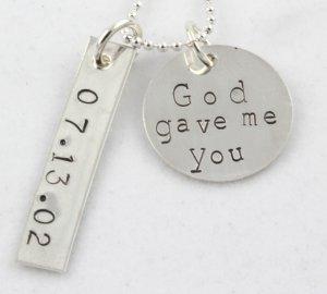 God Gave Me You Wedding Necklace Hand Stamped Sterling Silver