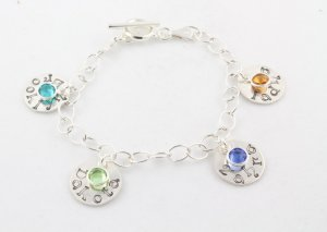 Custom Personalized Sterling Silver Birthstone Charm Bracelet