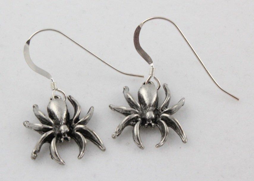 Halloween Spider Dangle Sterling Silver Earrings E009