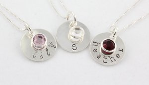 Custom Personalized Sterling Silver Hand Stamped Circle Birthstone Necklace N027