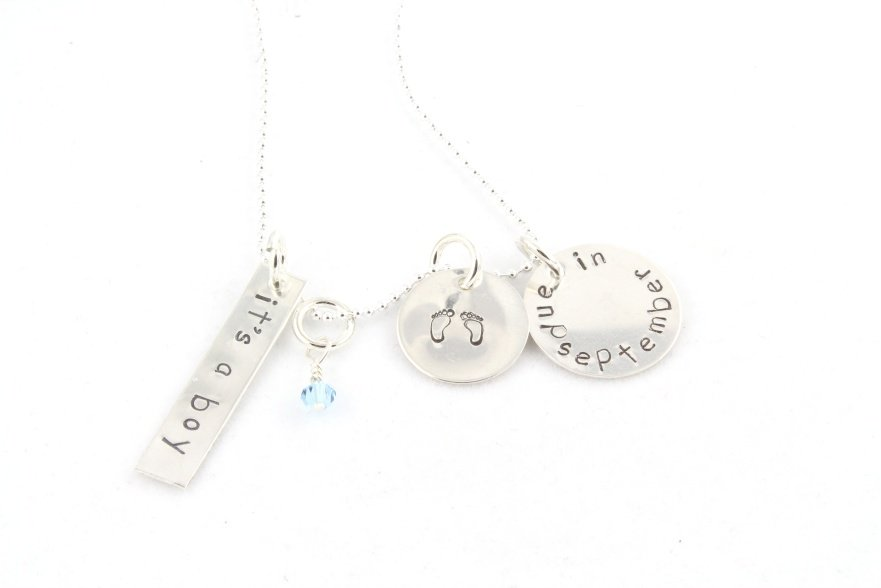 It's a girl boy due date birth maternity pregnant hand stamped sterling silver necklace N109