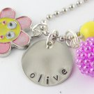 Smiley Flower Charm Necklace Custom Personalized Silver N019