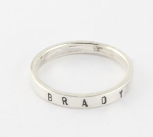 Personalized Sterling Silver Stacking Ring - Hand Stamped Custom Ring Size 8
