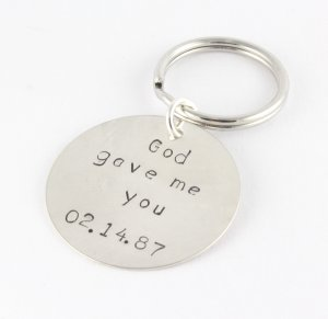 God Gave Me You Keychain Key Ring Sterling Silver Dad Father