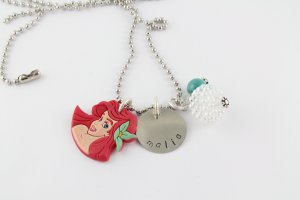 Ariel Little Mermaid Charm Necklace - Custom Personalized Silver Necklace