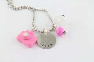 Camera Charm Necklace - Custom Personalized Silver Necklace