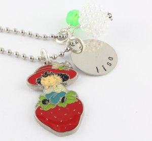 Strawberry Shortcake Charm Necklace - Custom Personalized Silver Necklace