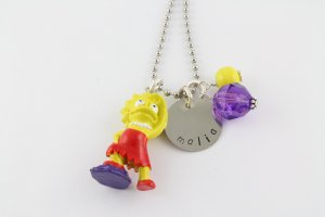 Simpsons Charm Necklace - Bart Homer Maggie Marge Lisa - Custom Personalized Silver Necklace