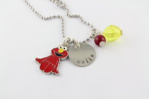 Elmo Charm Necklace - Custom Personalized Silver Necklace
