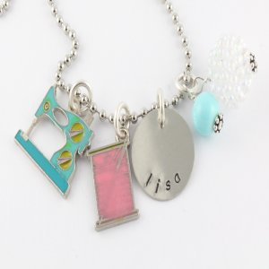 Sewing Charm Necklace - Custom Personalized Silver Necklace