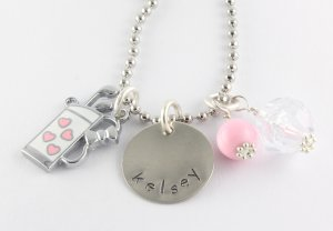 Golfer Charm Necklace - Custom Personalized Silver Golf Necklace