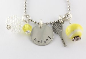 Tennis Charm Necklace - Custom Personalized Silver Necklace