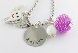 Personalized Tooth Fairy Charm Necklace - Custom Hand Stamped Silver Necklace
