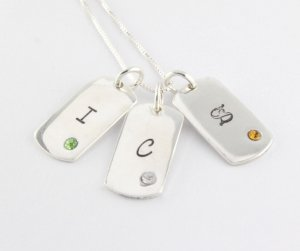 Tiny Birthstone Dog Tag Necklace - Personalized Sterling Silver Custom Hand Stamped Initials