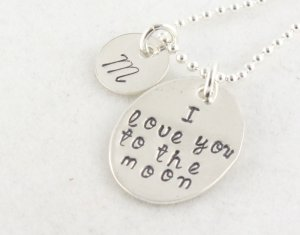 Love You To The Moon Necklace - Custom Personalized Sterling Silver Necklace