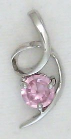 Pink Round Sterling Silver Swirl Pendant Necklace