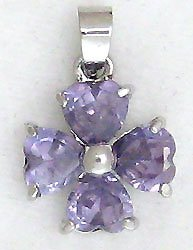 Purple Four Leaf Clover Sterling Silver Pendant Necklace