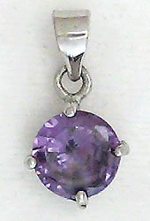 Purple Round Solitaire Sterling Silver Pendant Necklace