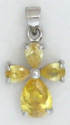 Yellow Cross Sterling Silver Pendant Necklace