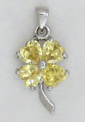 Yellow Four Leaf Clover Sterling Silver Pendant Necklace