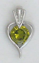 Green Sterling Silver Heart Pendant Necklace