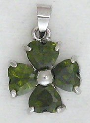 Green Four Leaf Clover Sterling Silver Pendant Necklace