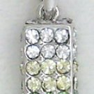 Green Rectangle Sterling Silver Pendant Necklace
