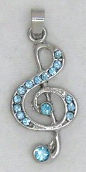 Blue Treble Clef Music Sterling Silver Pendant Necklace