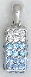 Blue Rectangle Sterling Silver Pendant Necklace