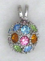 Multi-Color Sterling Silver Ball Pendant Necklace