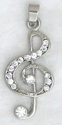 Treble Clef Music Sterling Silver Pendant Necklace