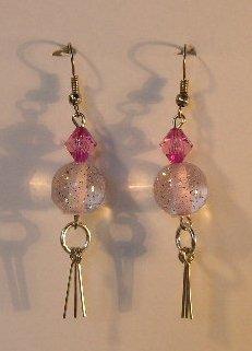 147(Inventory#) Pink stones earrings