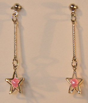141(Inventory#) Pink star earrings