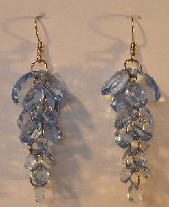 132(Inventory#) Blue cystal beads earrings