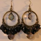 103(Inventory#) Black beads on hoop earrings