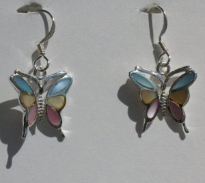 112(Inventory#) Custom design butterfly earrings 100% silver
