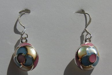107 (Inventory#) Multiple color beads earrings 100% silver