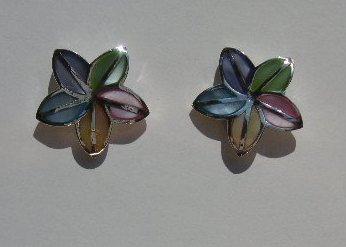 108(Inventory#) Unique multi color earrings 100% silver