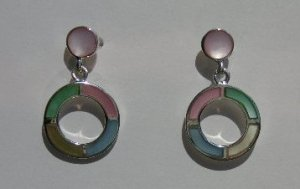 109(Inventory#) Custom design multi color earrings 100% silver