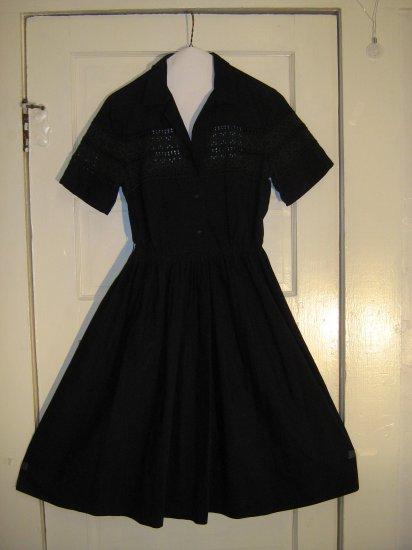 Black 1950s Dress with Eyelet Trim - Raimondi of Dallas