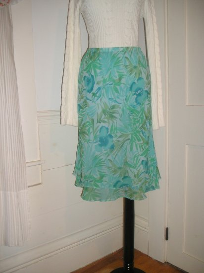 ADRIANNA PAPELL SILK SKIRT SIZE 10 M MEDIUM BLUE