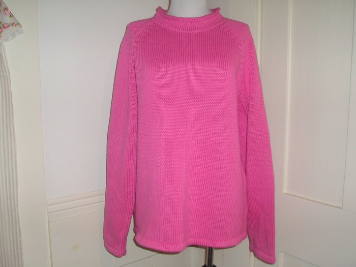 LL BEAN SWEATER SIZE LARGE PINK L, L.L.BEAN