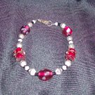 Red Galss Lampwork with Silver Bicone Bracelet