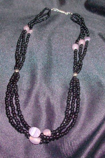 Three Strand Black and Purple Necklace