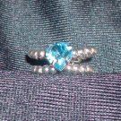 Aqua Heart Swarovski Ring
