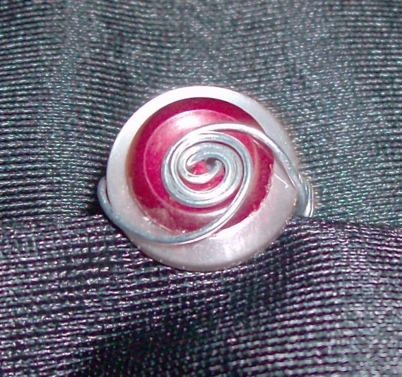 White/Red Buttons w/ Silver Wire Wrapped Ring